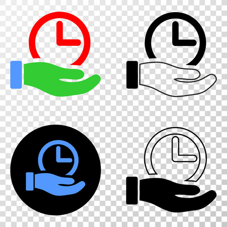 Time service hand vector pictogram with contour, black and colored versions. Illustration style is flat iconic symbol on chess transparent background.