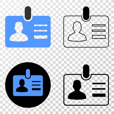 User id badge EPS vector pictogram with contour, black and colored versions. Illustration style is flat iconic symbol on chess transparent background.