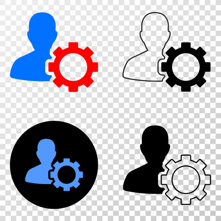 User options gear vector icon with contour, black and colored versions. Illustration style is flat iconic symbol on chess transparent background.