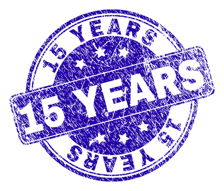 15 YEARS stamp seal watermark with distress texture. Designed with rounded rectangle and circles. Blue vector rubber watermark of 15 YEARS caption with dirty texture. Illustration