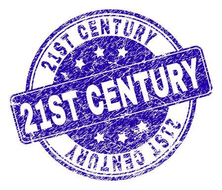 21. Jahrhundert Stempelsiegel Wasserzeichen mit Grunge-Stil. Entworfen mit abgerundetem Rechteck und Kreisen. Blaues Vektor-Gummi-Wasserzeichen des Titels des 21. Jahrhunderts mit Grunge-Stil.
