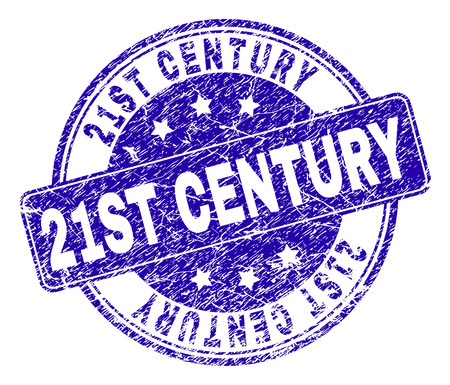 21ST CENTURY stamp seal watermark with grunge style. Designed with rounded rectangle and circles. Blue vector rubber watermark of 21ST CENTURY title with grunge style.