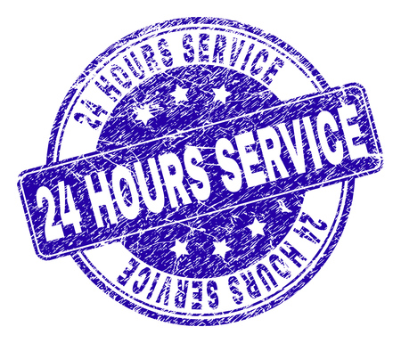 24 HOURS SERVICE stamp seal watermark with grunge texture. Designed with rounded rectangle and circles. Blue vector rubber watermark of 24 HOURS SERVICE text with grunge style. Illustration