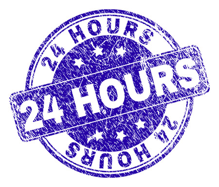 24 HOURS stamp seal watermark with grunge texture. Designed with rounded rectangle and circles. Blue vector rubber print of 24 HOURS text with grunge texture.
