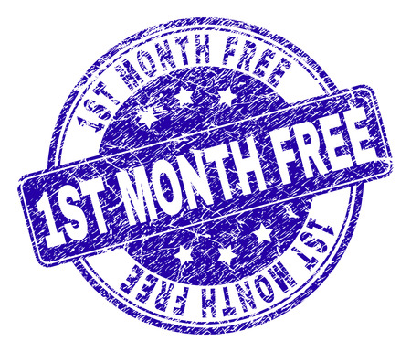 1ST MONTH FREE stamp seal watermark with grunge style. Designed with rounded rectangle and circles. Blue vector rubber watermark of 1ST MONTH FREE tag with unclean texture. Banque d'images - 125725354