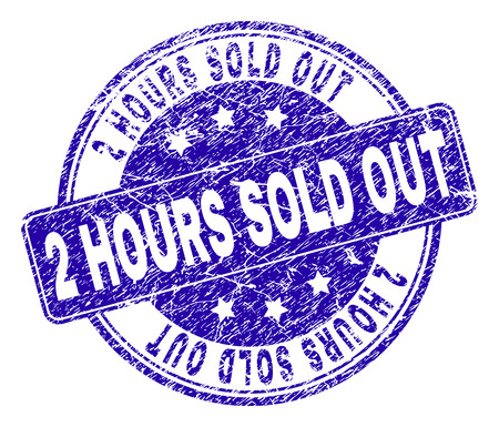 2 HOURS SOLD OUT stamp seal watermark with grunge style. Designed with rounded rectangle and circles. Blue vector rubber print of 2 HOURS SOLD OUT caption with grunge texture.