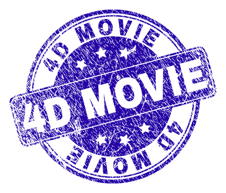 4D MOVIE stamp seal watermark with distress texture. Designed with rounded rectangle and circles. Blue vector rubber watermark of 4D MOVIE title with corroded texture.