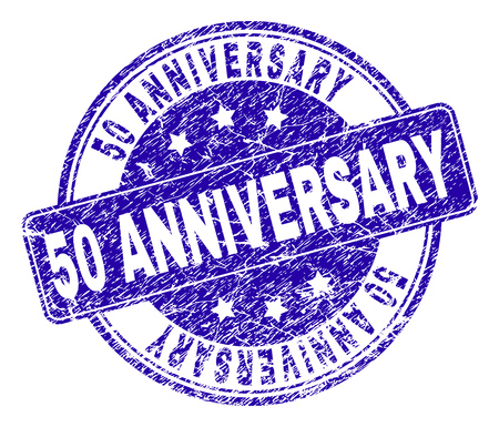 50 ANNIVERSARY stamp seal watermark with grunge style. Designed with rounded rectangle and circles. Blue vector rubber watermark of 50 ANNIVERSARY text with dirty style.