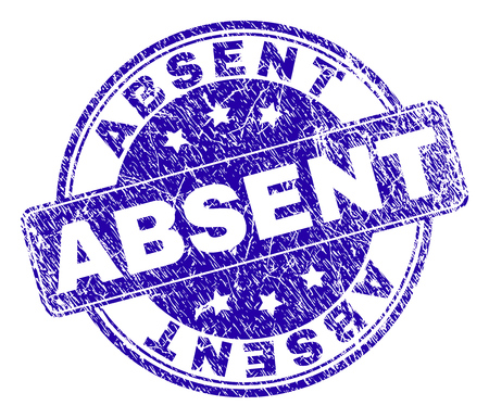 ABSENT stamp seal imprint with grunge style. Designed with rounded rectangle and circles. Blue vector rubber print of ABSENT label with corroded style.