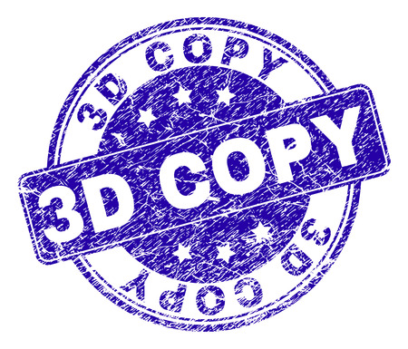 3D COPY stamp seal watermark with distress texture. Designed with rounded rectangle and circles. Blue vector rubber watermark of 3D COPY text with scratched texture.