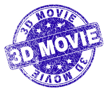 3D MOVIE stamp seal watermark with distress style. Designed with rounded rectangle and circles. Blue vector rubber watermark of 3D MOVIE label with dust style. Illustration