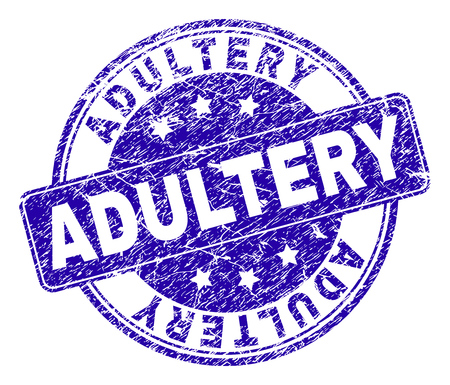 ADULTERY stamp seal watermark with grunge effect. Designed with rounded rectangle and circles. Blue vector rubber watermark of ADULTERY text with grunge texture.