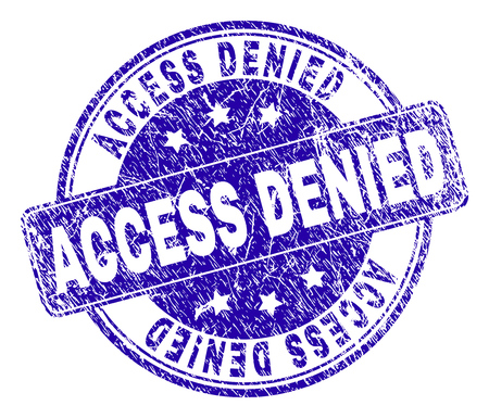 ACCESS DENIED stamp seal watermark with grunge texture. Designed with rounded rectangle and circles. Blue vector rubber watermark of ACCESS DENIED tag with scratched texture. Illustration