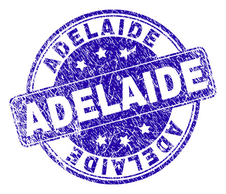 ADELAIDE stamp seal watermark with grunge texture. Designed with rounded rectangle and circles. Blue vector rubber print of ADELAIDE caption with retro texture.