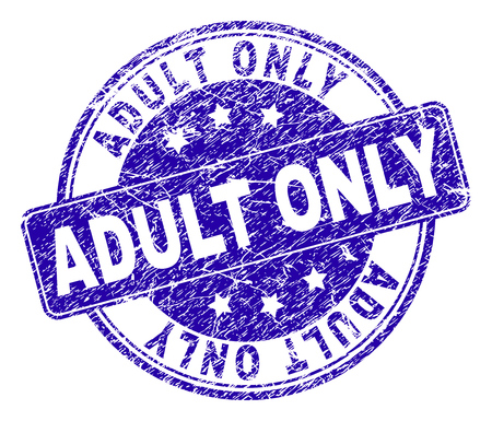 ADULT ONLY stamp seal watermark with grunge texture. Designed with rounded rectangle and circles. Blue vector rubber watermark of ADULT ONLY caption with corroded texture.