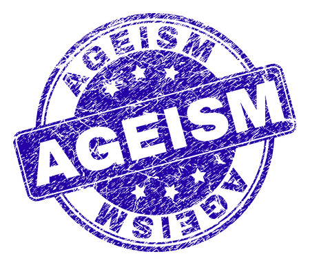AGEISM stamp seal watermark with grunge texture. Designed with rounded rectangle and circles. Blue vector rubber print of AGEISM text with dust texture. Illustration