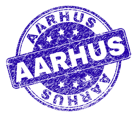 AARHUS stamp seal imprint with distress style. Designed with rounded rectangle and circles. Blue vector rubber print of AARHUS label with unclean style.