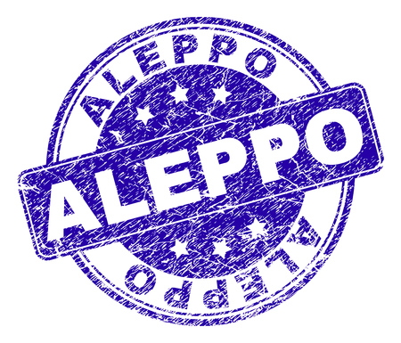 ALEPPO stamp seal watermark with grunge style. Designed with rounded rectangle and circles. Blue vector rubber watermark of ALEPPO label with grunge texture.
