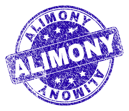 ALIMONY stamp seal watermark with distress style. Designed with rounded rectangle and circles. Blue vector rubber watermark of ALIMONY tag with grunge style.