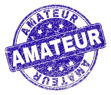 AMATEUR stamp seal watermark with distress texture. Designed with rounded rectangle and circles. Blue vector rubber watermark of AMATEUR label with retro texture. Illustration