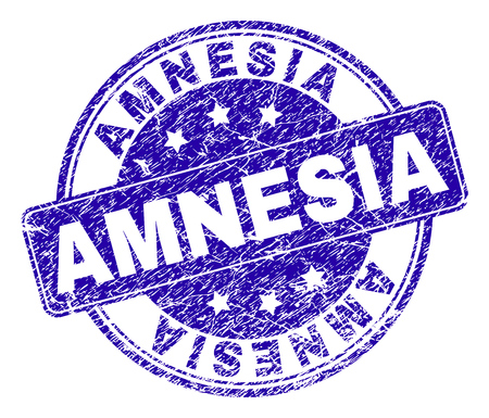 AMNESIA stamp seal imprint with grunge texture. Designed with rounded rectangle and circles. Blue vector rubber print of AMNESIA tag with scratched texture. Illustration