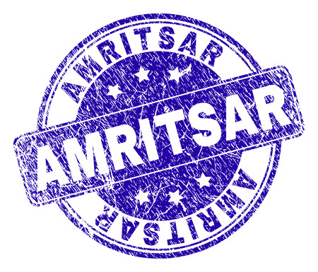 AMRITSAR stamp seal watermark with distress texture. Designed with rounded rectangle and circles. Blue vector rubber watermark of AMRITSAR text with retro texture.