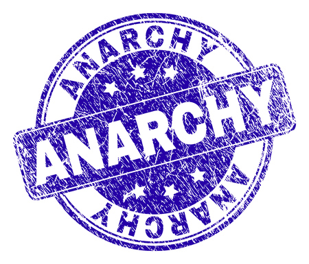 ANARCHY stamp seal watermark with grunge texture. Designed with rounded rectangle and circles. Blue vector rubber watermark of ANARCHY text with corroded texture. Vector Illustration