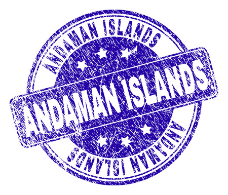 ANDAMAN ISLANDS stamp seal watermark with grunge style. Designed with rounded rectangle and circles. Blue vector rubber watermark of ANDAMAN ISLANDS title with corroded style.