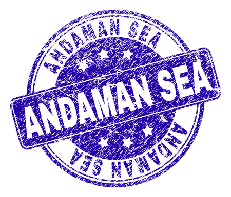 ANDAMAN SEA stamp seal imprint with distress style. Designed with rounded rectangle and circles. Blue vector rubber print of ANDAMAN SEA title with dust style. Иллюстрация