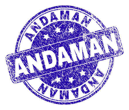 ANDAMAN stamp seal imprint with grunge texture. Designed with rounded rectangle and circles. Blue vector rubber watermark of ANDAMAN title with grunge texture. Иллюстрация
