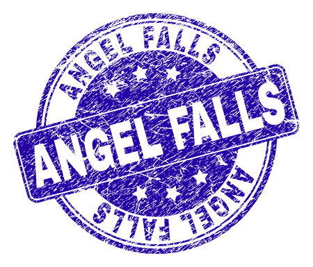 ANGEL FALLS stamp seal watermark with distress texture. Designed with rounded rectangle and circles. Blue vector rubber watermark of ANGEL FALLS caption with scratched texture.