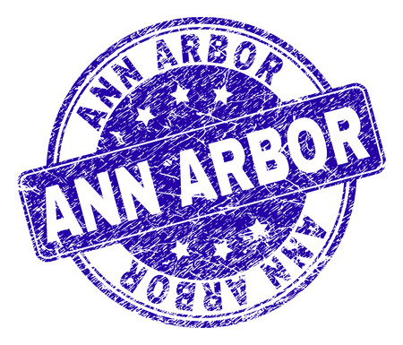 ANN ARBOR stamp seal watermark with grunge style. Designed with rounded rectangle and circles. Blue vector rubber watermark of ANN ARBOR tag with grunge style.