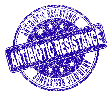 ANTIBIOTIC RESISTANCE stamp seal watermark with distress style. Designed with rounded rectangle and circles. Blue vector rubber watermark of ANTIBIOTIC RESISTANCE label with dirty style.