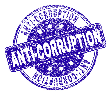 ANTI-CORRUPTION stamp seal watermark with distress style. Designed with rounded rectangle and circles. Blue vector rubber watermark of ANTI-CORRUPTION caption with unclean style.