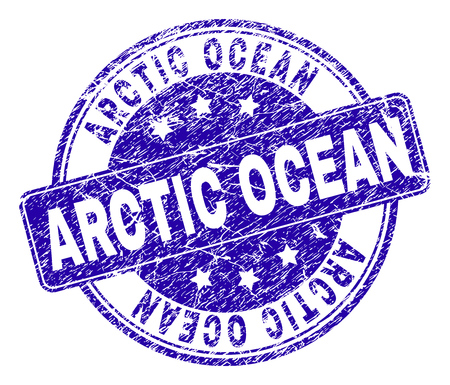 ARCTIC OCEAN stamp seal watermark with distress effect. Designed with rounded rectangle and circles. Blue vector rubber watermark of ARCTIC OCEAN title with dust texture.  イラスト・ベクター素材