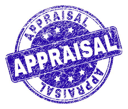APPRAISAL stamp seal watermark with grunge texture. Designed with rounded rectangle and circles. Blue vector rubber watermark of APPRAISAL text with corroded texture.