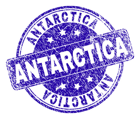 ANTARCTICA stamp seal imprint with grunge texture. Designed with rounded rectangle and circles. Blue vector rubber print of ANTARCTICA label with retro texture.