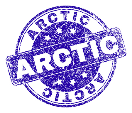 ARCTIC stamp seal watermark with distress texture. Designed with rounded rectangle and circles. Blue vector rubber watermark of ARCTIC label with dust texture.