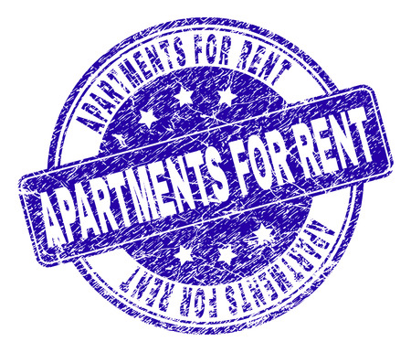 APARTMENTS FOR RENT stamp seal watermark with distress style. Designed with rounded rectangle and circles. Blue vector rubber watermark of APARTMENTS FOR RENT caption with unclean style. Ilustração