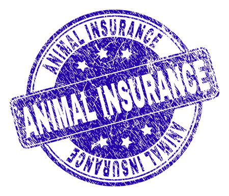 ANIMAL INSURANCE stamp seal watermark with distress style. Designed with rounded rectangle and circles. Blue vector rubber watermark of ANIMAL INSURANCE label with grunge texture. Иллюстрация