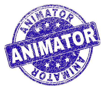 ANIMATOR stamp seal watermark with distress texture. Designed with rounded rectangle and circles. Blue vector rubber watermark of ANIMATOR caption with dirty texture.