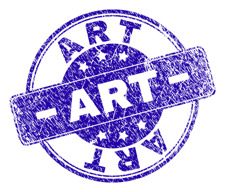ART stamp seal imprint with grunge style. Designed with rounded rectangle and circles. Blue vector rubber watermark of ART caption with dust style.