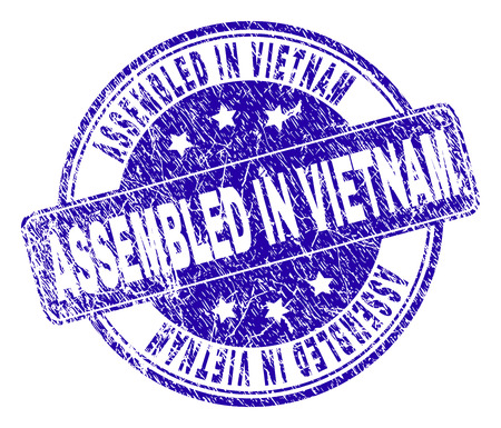 ASSEMBLED IN VIETNAM stamp seal watermark with grunge texture. Designed with rounded rectangle and circles. Blue vector rubber print of ASSEMBLED IN VIETNAM title with grunge texture. Illustration