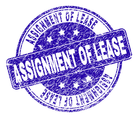 ASSIGNMENT OF LEASE stamp seal watermark with distress style. Designed with rounded rectangle and circles. Blue vector rubber print of ASSIGNMENT OF LEASE label with grunge style.