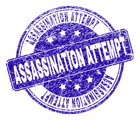 ASSASSINATION ATTEMPT stamp seal watermark with grunge texture. Designed with rounded rectangle and circles. Blue vector rubber watermark of ASSASSINATION ATTEMPT caption with grunge style.