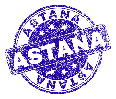 ASTANA stamp seal watermark with distress texture. Designed with rounded rectangle and circles. Blue vector rubber watermark of ASTANA caption with unclean texture. Illustration