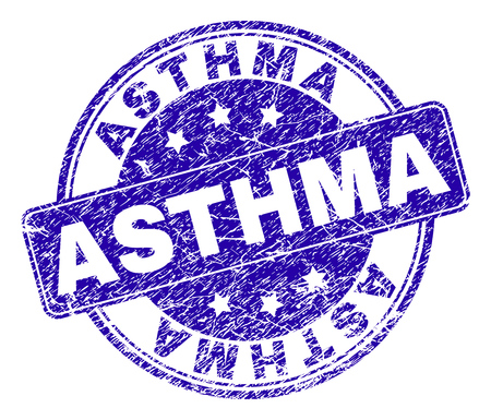 ASTHMA stamp seal watermark with distress style. Designed with rounded rectangle and circles. Blue vector rubber watermark of ASTHMA text with dirty style. Illustration