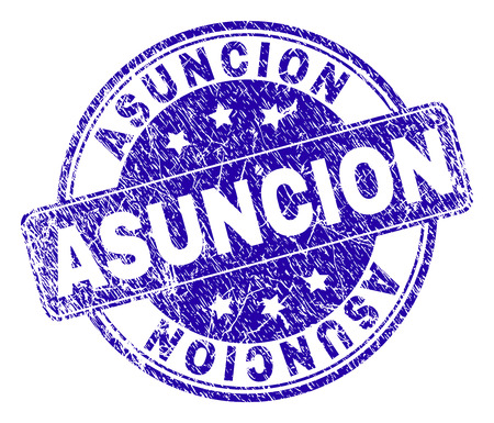 ASUNCION stamp seal watermark with distress effect. Designed with rounded rectangle and circles. Blue vector rubber watermark of ASUNCION tag with unclean texture.