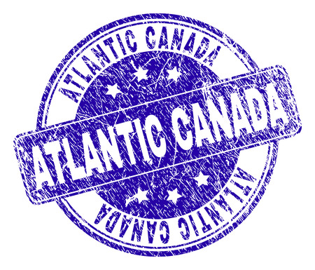 ATLANTIC CANADA stamp seal watermark with distress style. Designed with rounded rectangle and circles. Blue vector rubber watermark of ATLANTIC CANADA tag with unclean style.