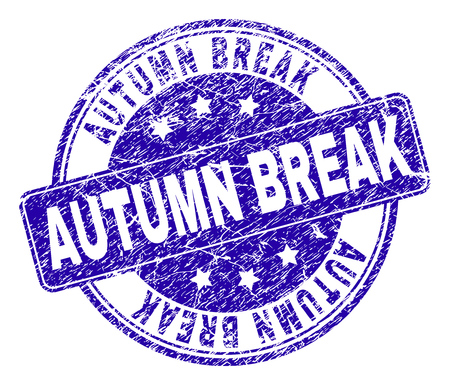 AUTUMN BREAK stamp seal watermark with grunge texture. Designed with rounded rectangle and circles. Blue vector rubber watermark of AUTUMN BREAK title with grunge texture. Vetores